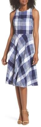 Eliza J Check Fit & Flare Dress