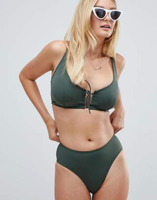 Pour Moi? Pour Moi lace up high waist bikini bottom in khaki