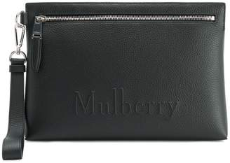 Mulberry embossed logo clutch