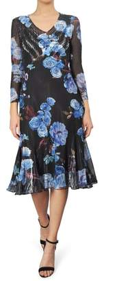 Komarov Print Chiffon A-Line Dress