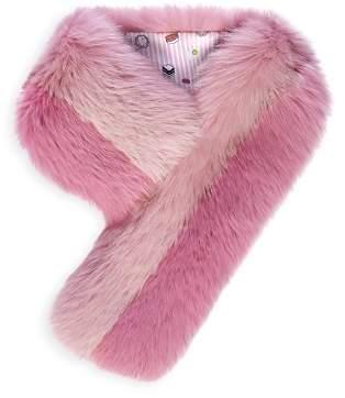 Charlotte Simone Cuddle Cuff Color-Block Fox-Fur Scarf