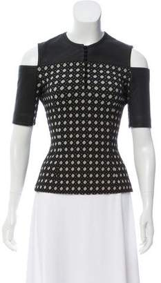 Yigal Azrouel Leather-Trimmed Jacquard Top
