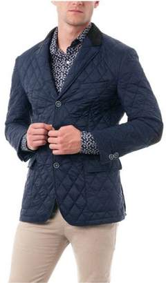 Verno Big Men's Navy Quilted Notched Lapel Sports Coat