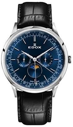 Edox Men's Les Vauberts 42mm Black Leather Band Quartz Watch 40101 3C BUIN