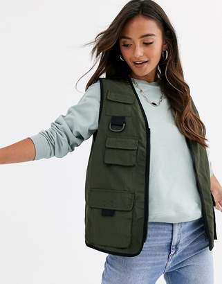Asos Design DESIGN utility vest in khaki