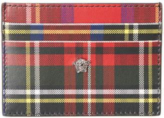 Versace Medusa Tartan Leather Card Holder