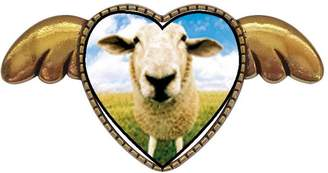 GiftJewelryShop Ancient Style Gold-plated Sheep Face Heart With Simple Angel Wings Pins Brooch