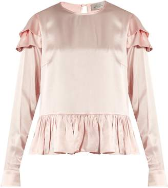 Preen by Thornton Bregazzi Cherry ruffle-trimmed silk blouse