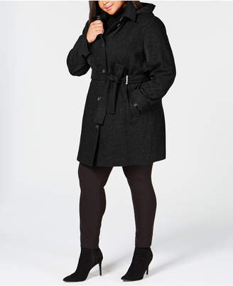 Calvin Klein Plus Size Hooded Belted Coat