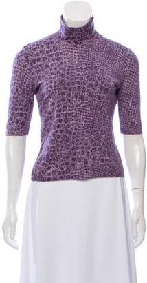 Blumarine Printed Mock Neck Sweater