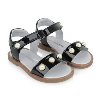 Stuart Weitzman Stuart WeitzmanGirls Patent Black Pearl Studded Sandals