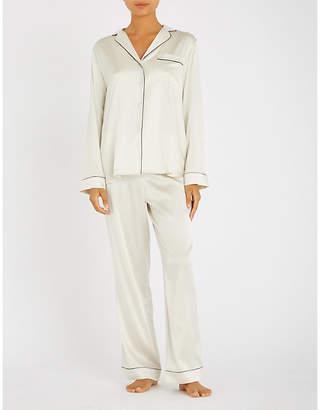 Yolke Contrast-piping stretch-silk pyjama set