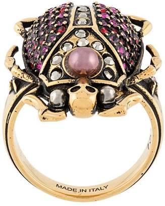 Alexander McQueen beetle rihnstone ring