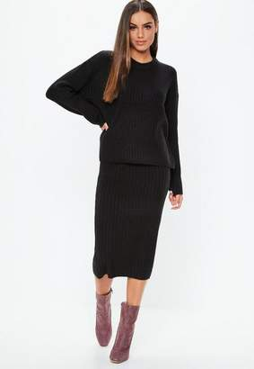 Missguided Black 2 Piece Ribbed Knit Co Ord Set
