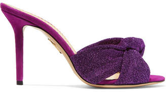 Charlotte Olympia Lola Knotted Textured-lamé And Suede Mules - Purple