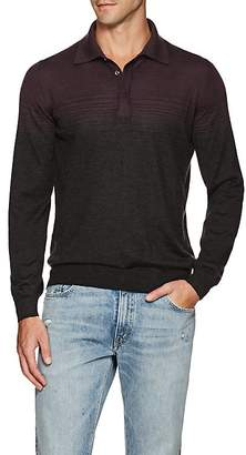 Fioroni Men's Gradient-Striped Cashmere-Silk Polo Shirt