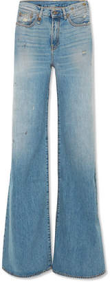 R 13 Raegan Distressed High-rise Wide-leg Jeans - Mid denim