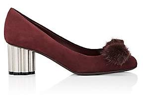 Salvatore Ferragamo Women's Flower-Heel Suede Pumps - Wine