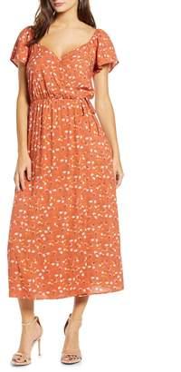 ALL IN FAVOR Faux Wrap Floral Tea Length Dress