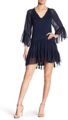 Alice + Olivia Zoey Ruffled Bell Sleeve Tunic Dress