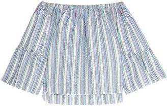 See by Chloé - Off-the-shoulder Crinkled Striped Cotton-blend Top - Blue $230 thestylecure.com