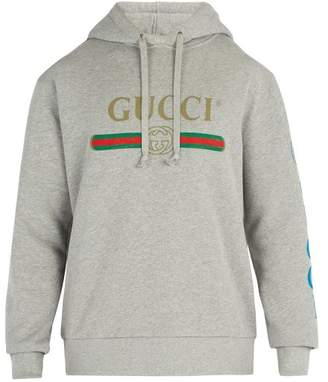 Gucci Dragon And Logo Hooded Sweatshirt - Mens - Grey