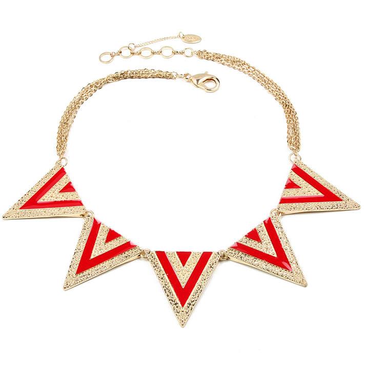 Red & Goldtone Noho Bib Necklace