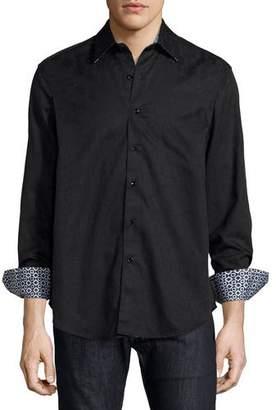 Robert Graham Cullen Jacquard Long-Sleeve Sport Shirt, Black $188 thestylecure.com