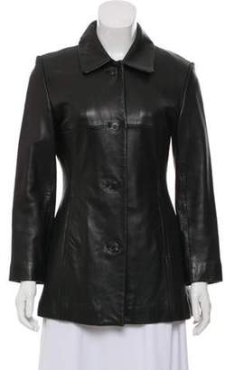 Andrew Marc Leather Button-Up Jacket Black Leather Button-Up Jacket