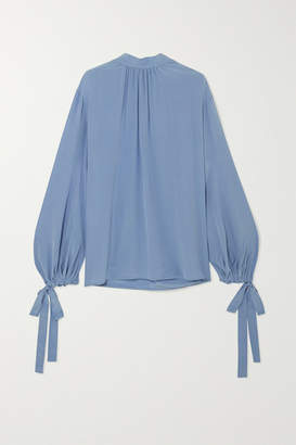 Prada Gathered Silk Crepe De Chine Blouse - Blue