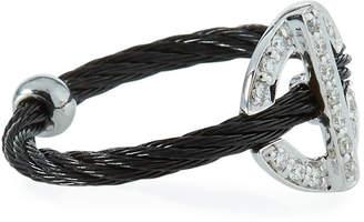 Alor Diamond Circle-Station Ring, Black, Size 6.5