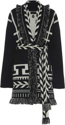 Alanui Native Two-Tone Belted Cashmere Cardigan