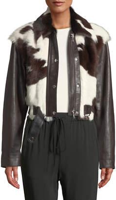 3.1 Phillip Lim Short Calf Hair Leather Jacket