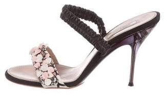 Nina Ricci Sequin-Embellished Leather Sandals