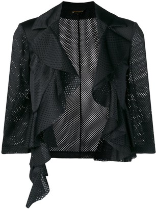 Comme des Garcons Pre-Owned ruffle trim cropped jacket