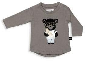 Huxbaby Baby Girl's& Little Girl's Long Sleeve Bear Spade Top