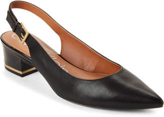 Calvin Klein Black Glorianna Leather Slingback Pumps