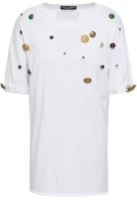 f209e0522a58d0 Dolce & Gabbana Button-embellished Cotton-jersey T-shirt