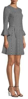 Kate Spade Houndstooth Ponte Ruffle Dress