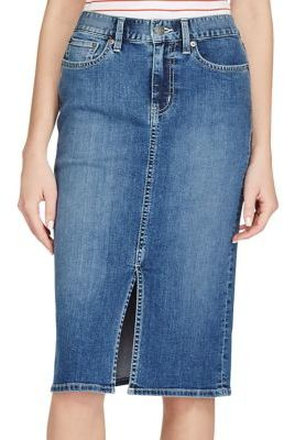 Lauren Ralph Lauren Stretch Denim Pencil Skirt $89.50 thestylecure.com