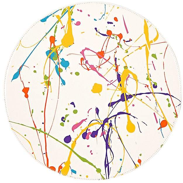 Reversible Paint-Splatter-Print Circular Placemat