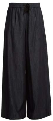 Max Mara S Wide Leg Cotton Trousers - Womens - Indigo