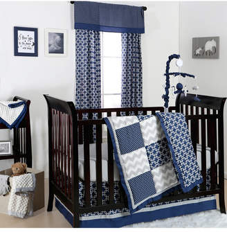 The Peanut Shell The Navy & Grey Geo Patch 3-Piece Crib Bedding Set Bedding