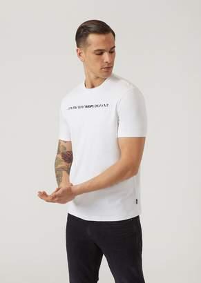 Emporio Armani Interlock Cotton Jersey T-Shirt With Half Effect Logo