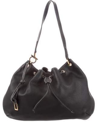 Salvatore Ferragamo Pebbled Leather Hobo Black Pebbled Leather Hobo