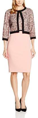 Gina Bacconi Women's Dainty Embroidered Lace Jacket and Dress, Pink/Black)