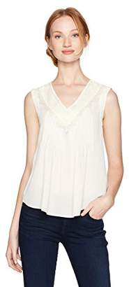 Nanette Lepore Nanette Women's Pintuck Sleeveless Blouse W/lace