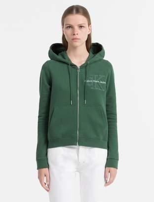 Calvin Klein fitted zip logo hoodie