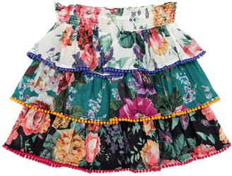 Zimmermann Allia Floral Print Cotton Skirt