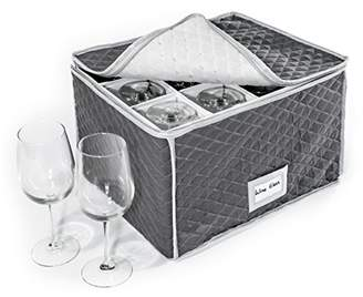 """StackStorePlusMore Stemware Storage Case - Quilted Fabric Container in Gray Measuring 16"""" x 13"""" x 10""""H - Inside compartment is 4"""" x 4"""" - Perfect Storage Case for White and Red Wine Beer Mugs"""